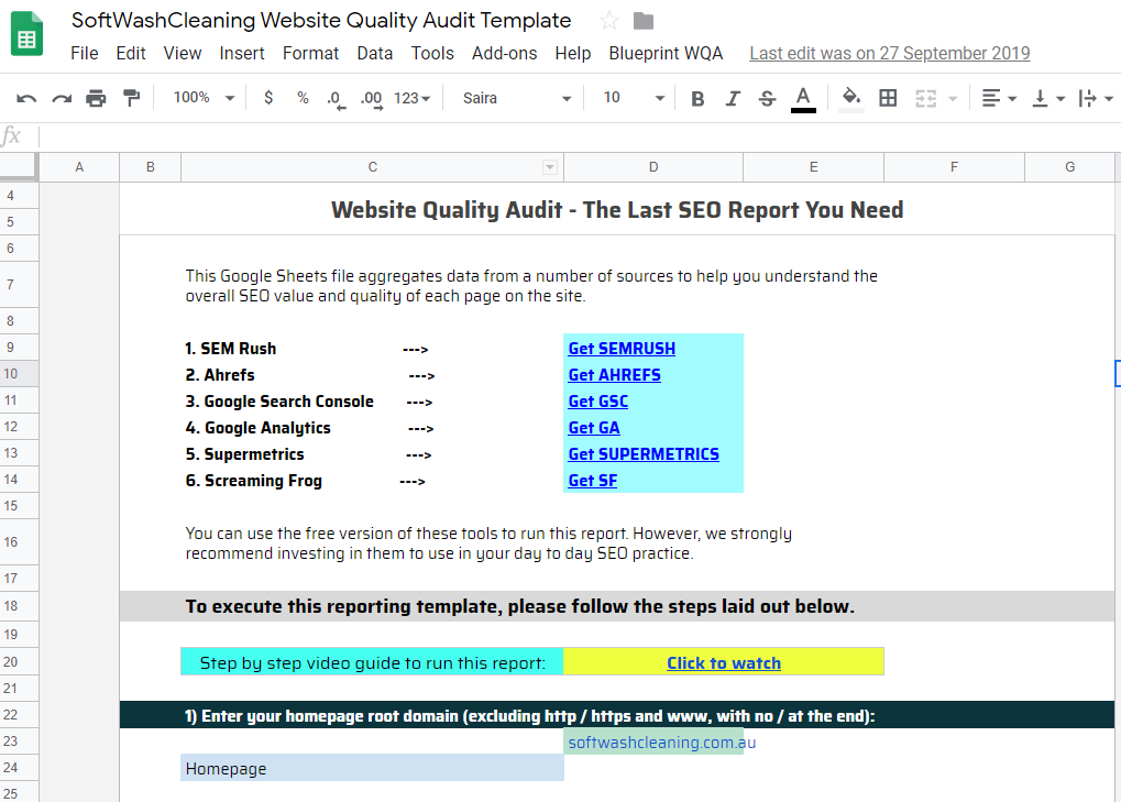 Website Quality Audit (WQA) for Softwash