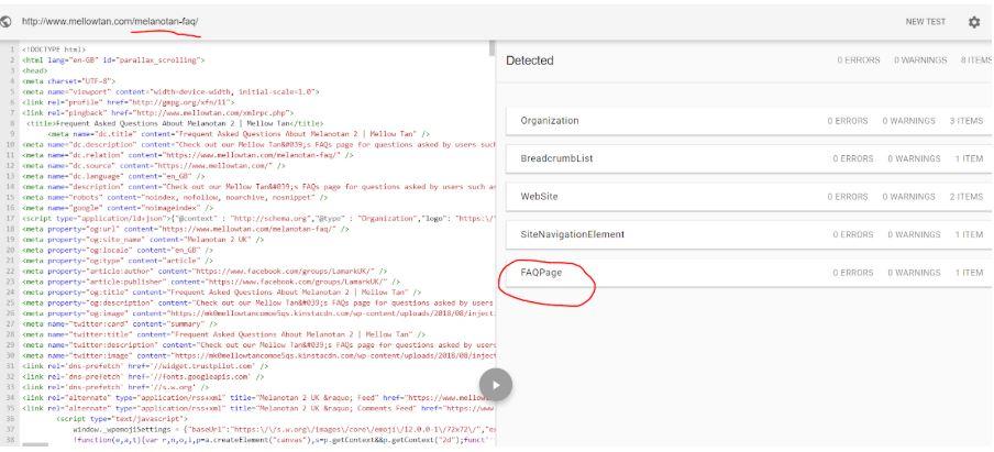 FAQ schema on Delivery FAQ page
