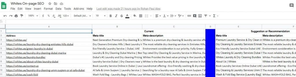 Optimize Meta tags of Whites Website