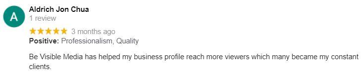 Aldrich Jon Chua Google Review