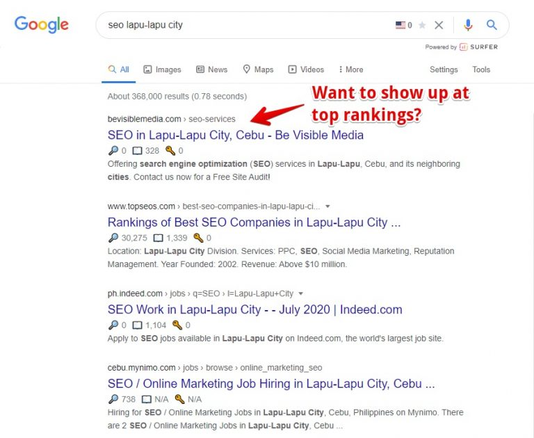 Show up at top rankings in Google